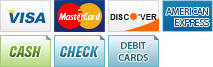 We accept Visa, Mastercard, Discover, American Express, Cash, Check and Debit Cards.